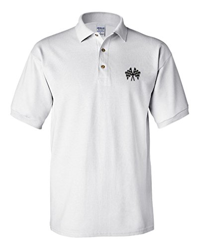 Flag Shirts Checkered (Checkered Flag Embroidery Design Adult Cotton Short Sleeve Polo Shirt White X-Large)