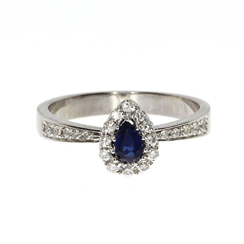 14K White Gold 5x3 mm Pear Sapphire and Diamond Precious Ring. Size 7.5 ()