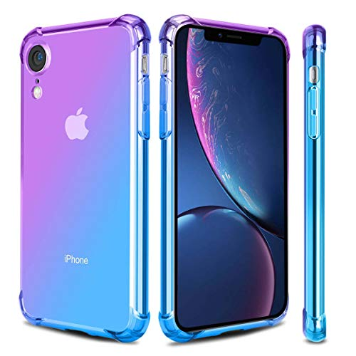 Airror Phone Case Compatible with iPhone XR, Clear Multi-Color Gradients Slim Case, Impact Resistant Protective Flexible Soft TPU Cover [ Support Wireless Charging ] - Blue & Purple 184 (Pack Compatible Multi Color)