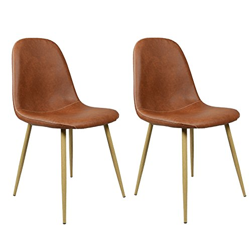 GreenForest Dining Side Chairs Washable Pu Cushion Seat Metal Legs for Dining Room Chairs Set of 2 ,Brown(Buy 2 Chairs,Get 1 Free Chair)