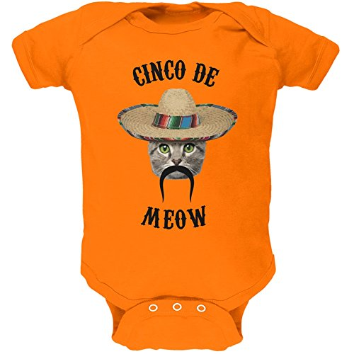 Animal World Funny Cat Cinco de Mayo Meow Orange Soft Baby One Piece - 6 Month