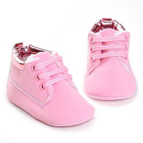 Tefamore zapatos bebes sneaker de primeros pasos de antideslizante de sole suave de moda invierno de calentar y el algodón Rosa