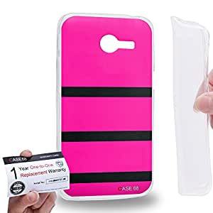 Case88 [Asus Zenfone 4 A400CG] Gel TPU Carcasa/Funda & Tarjeta de garantía - Art Design Pink Bumblebee Art1066