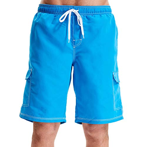 WORW Men's Quick Dry Swim Trunks (Blue, -