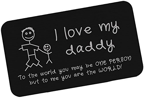 Engraved Aluminum Wallet Insert for Dads, Metal Wallet Card Insert for Father's Day – I Love Daddy, New Dad Gift from Kids – WC05
