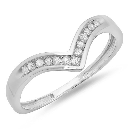 0.10 Carat (ctw) 10K White Gold Round Diamond Wedding Stackable Anniversary Guard Chevron Ring 1/10 CT