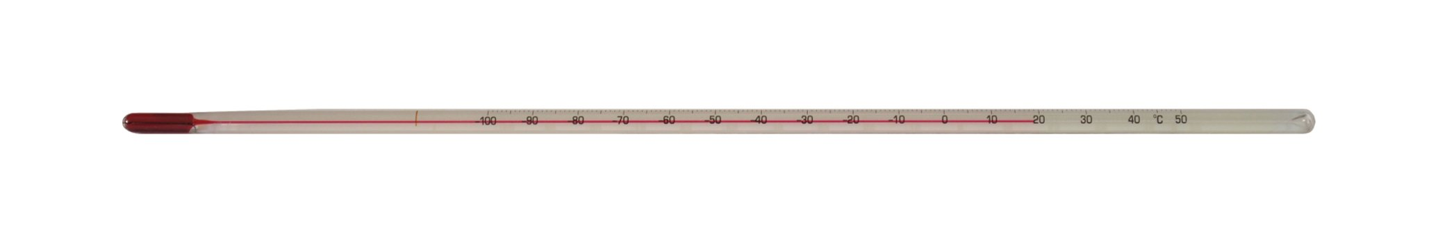 Thermco ACC610S SAMA Precision Red Spirit Filled Laboratory Thermometer, 0 to 230°F Range, 2°C Division, Total Immersion, 305mm Length