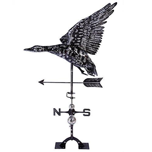 BYNBBUR Handmade Weathervane, Stainless Steel, Aged Black Craft, 3D Flying Duck Wind Vane for Home Roof Garden