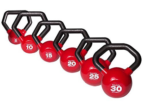 Body-Solid KETTLEBALLS 5-30 lb. Vinyl Dipped Kettlebell Set with Multi-Grip Angled Handles