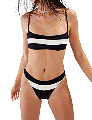 Blooming Jelly Women's Two Piece Bathing Suits Striped Sport Swimsuits Cheeky Thong Bikini