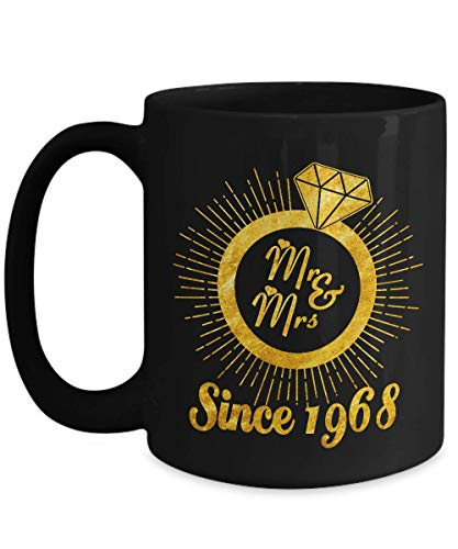 Mr. And Mrs. Since 1968 Marriage Coffee Mug - Funny 50rd, 50th Celebrating Marriage Anniversary Gift for Husband from Wife - 50 Years Wedding Marriage Wife Gift Coffee Mug Tea Cup 15 OZ