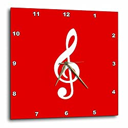 3D Rose Treble Notation-G Clef Musical Note Musician Gift Wall Clock, 15 x 15, Red
