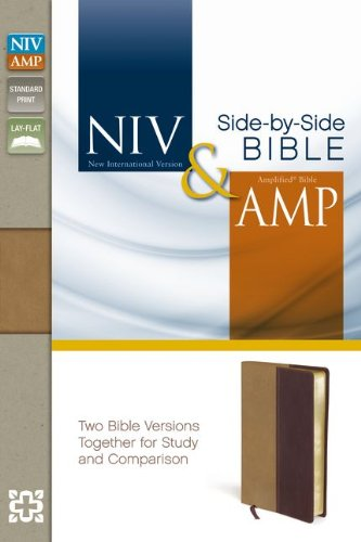 NIV, Amplified, Parallel Bible, Leathersoft, Tan/Burgundy: Two Bible Versions Together for Study and Comparison