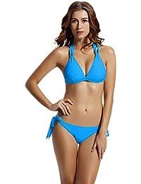 Women's Tie Side Bottom Criss Cross Triangle Bikini Bathing Suits