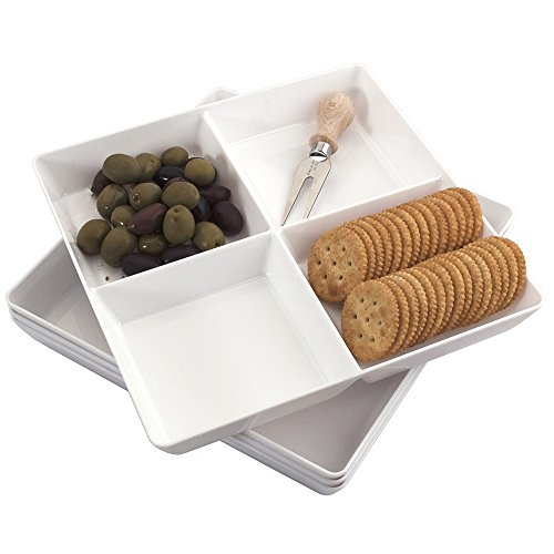 Set of 4 | Avant 4-Compartment White Plastic Appetizer Serving Tray