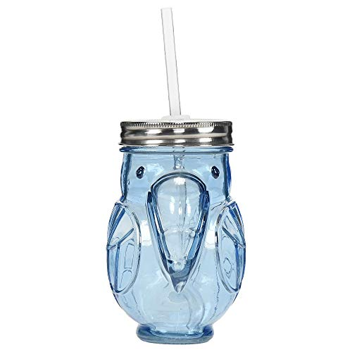 Parrot Shape Glass Blue Mason Jar with Lid & Straw - Jar Parrot