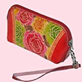 Genuine Leather Wristlet Change Purse, Colorful Flowers Embossed, Joyful Design -1