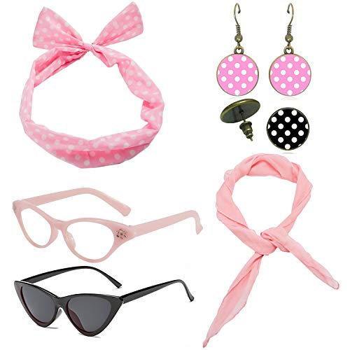 1950's Womens Costume Accessories Set - 50s Chiffon Scarf,Cat Eye Glasses,Bandana Tie Headband,Drop Dot Earrings (Pink)