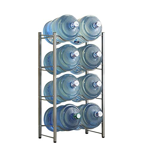 Whthteey Multi-Tier 5 Gallon Water Bottle Rack Heavy Duty Collapsible Cooler Jug Storage Holder Shelf (4 Layer, Silver)