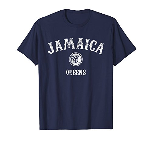 New York Vintage T-shirt - Mens JAMAICA NYC T-Shirt - Vintage Queens New York Tee XL Navy