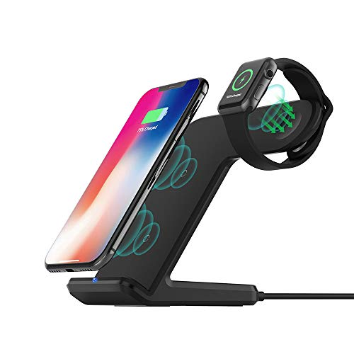 Wireless Charger Stand Compatible with Apple Watch 4/3/2/1, Fast Wireless Charging Station Dock add QC3.0 Adapter Replacement for iPhone XS/XR/XS Max/8,Galaxy S9/S8/S7/Note 8 and All Qi-Enabled Phones