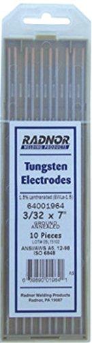10 Per Package Radnor RAD64001966 5//32 x 7 Ground Finish Lanthana Tungsten Electrode