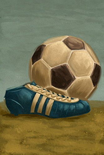 (Soccer Ball and Cleat - Oil Painting (12x18 Art Print, Wall Decor Travel Poster))