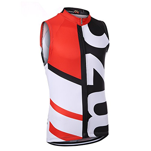 (Mzcurse Men's Outdoor Pro Team Short Sleeve Cycling Jersey Bib Shorts Set (Red Vest, X-Large,please check the size chart))