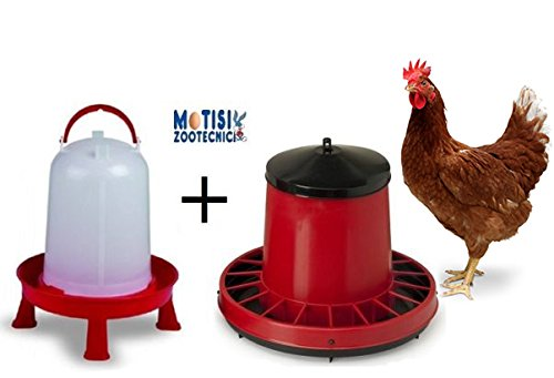 Mangiatoia capienza kg.8/10 per polli + Abbeveratoio da lt.10 con manico e sostegno per polli Contro