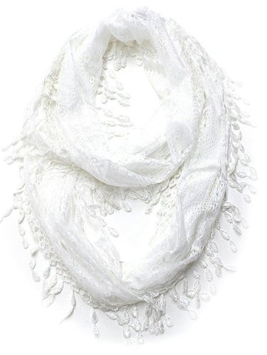 KMystic Lace Infinity with Long Fringe (White)