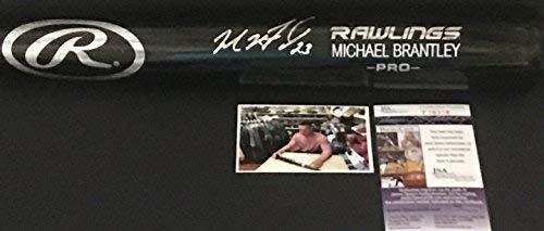 Michael Brantley Houston Astros Autographed Signed Black Baseball Bat JSA COA