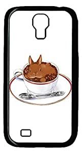 Brian114 Samsung Galaxy S4 Case, S4 Case - Cool Black Back Hard Case for Samsung Galaxy S4 I9500 A Cup Of Coffee Or Bunny Design Hard Snap-On Cover for Samsung Galaxy S4 I9500