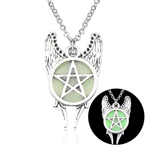 Mens necklace Hot Antique Pentagram Pentacle Angel Wings Pendant Supernatural Necklace Jewelry Luminous Necklace Glow In The Dark Gift