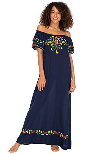 - Back From Bali Womens Off Shoulder Long Mexican Embroidered Dress Maxi Boho Floral Summer Peasant Dress Navy Small