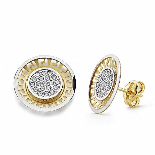 Boucled'oreille 12mm 18k bicolor d'or. ajourés zircons rondes [AA2080]