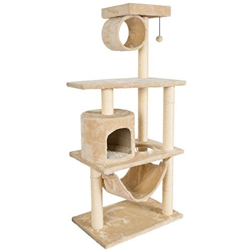 Beige Cat Furniture Tower (Hollypet Cat Activity Tree Bed Scratching Post Pet Furniture Scratcher Play House Condo Beige 54 Inch High)
