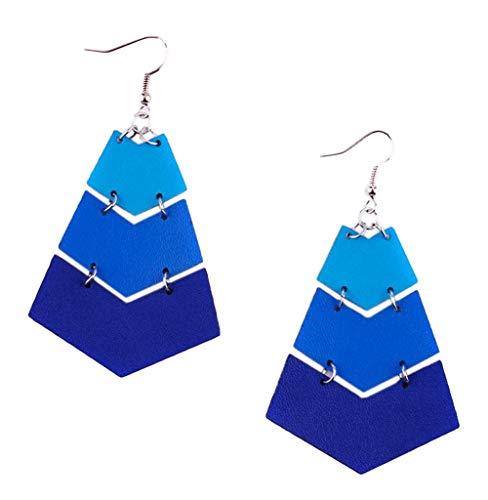 stylesilove Womens Handmade Lightweight Geometric Chevron Bohemian Leather Earrings (Blue)