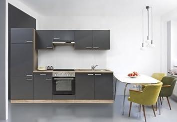 respekta Küche Küchenzeile Einbauküche Küchenblock 270 cm buche grau ...