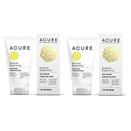 (Acure Brilliantly Brightening Day Cream (Pack Of 2) with Gotu Kola Stem Cells, Chlorella Growth Factor, Aloe Vera Juice, Safflower Seed Oil and Red Mandarin Oil, For Normal To Dry Skin, 1.75 Fl. Ounce)