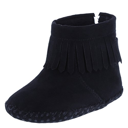 Girl Fringe Boots (Teeny Toes Girls' Black Girls' Infant Farrah Fringe Boot 3 Regular)
