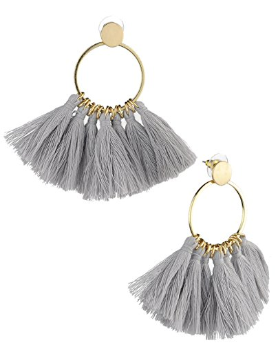 Gray Round Earring - Women's Flat Circle Round Hoop Dangle Tassel Pierced Earrings, Gray/Gold-Tone