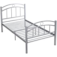 Giantex 83x42x35 Black Metal Bed Frame Platform Twin Size Bedroom Home Furniture (Sliver)