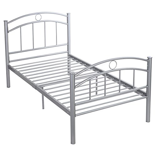 Giantex 83''x42''x35'' Black Metal Bed Frame Platform Twin Size Bedroom Home Furniture (Sliver) by Giantex