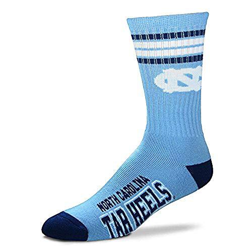 For Bare Feet Mens NCAA 4 Stripe Deuce Crew Socks, North Carolina Tar Heels, Large