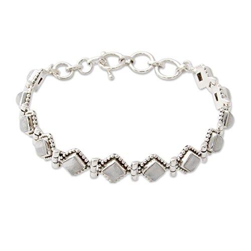NOVICA Moonstone - Rainbow .925 Sterling Silver Tennis Bracelet