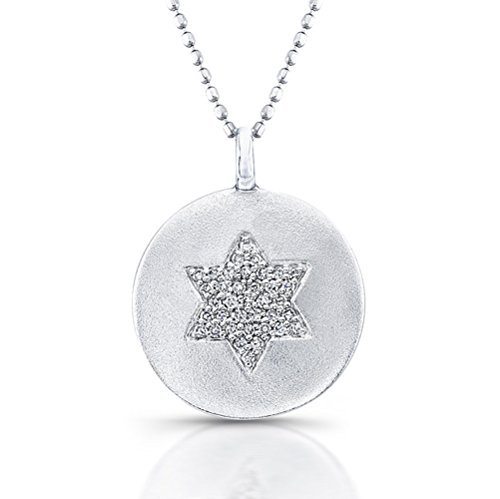 David Diamond Disc Pendant (Star of David - Diamond Disc Pendant - Sterling Silver)