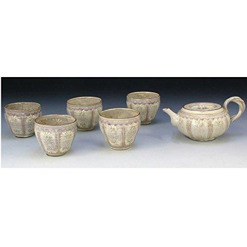 Kiyomizu-kyo yaki ware. Set of Japanese yunomi teacup and kyusu teapot shisaikamon with paper box. ceramic. kymz-JTR216