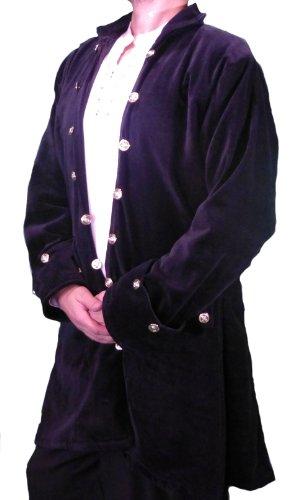 Captain De Lisle Coat - Black Cotton Velvet - Size XX-Large by The Pirate Dressing (Image #1)