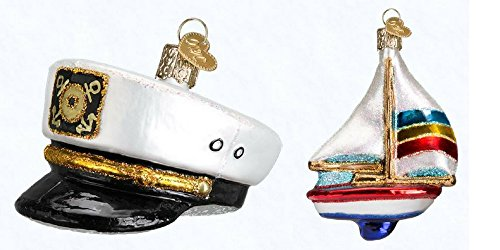 Old World Christmas Sailboat Captains Cap Set Glass Blown Ornaments (Ornaments For Home Unusual The)