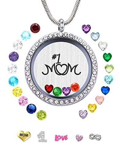 JOLIN #1 Mom Floating Locket Necklace Pendant Charms & 24PCS Birthstones, Best Gift Mum Mam Mother Mammy Mama Mummy